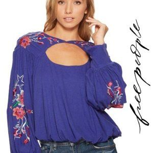Free People NWT Floral Embroidered Keyhole Top, XS